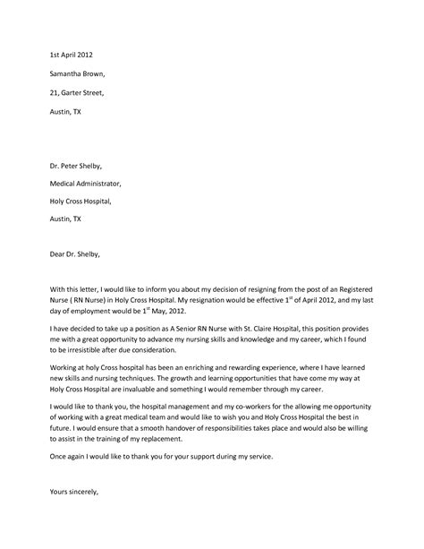 Advance Letter For Hospitalization resignation letter format practitioner hospital sle