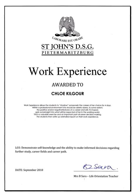 Work Experience Certificate In Certificate Of Work Experience