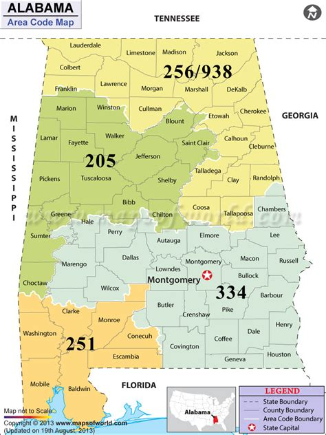 Alabama Area Codes   Map of Alabama Area Codes