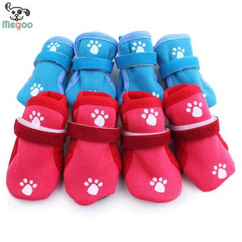 Pet Cotton Socks Set 4pcs Blue 4pcs set fashion paw print shoes knitted cotton non