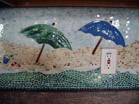 "Mosaic Kitchen Backsplash ""Beach Scene""   Designer Glass"