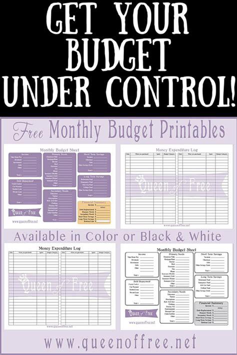 printable budget worksheet queen