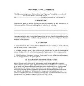 Contract For Subcontractors Template by 10 Subcontractor Agreement Templates Free Sle