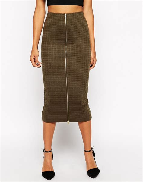 asos column pencil skirt in texture with zip front in