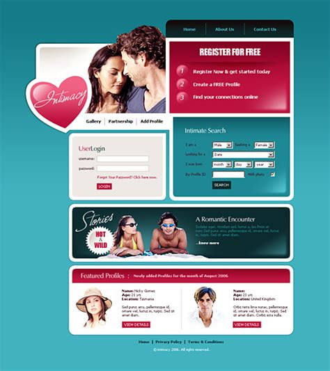 Love Matching Webpage Template 2411 Love Dating Website Templates Dreamtemplate Webpage Template Html