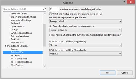 reset settings in visual studio 2013 build unnecessary project rebuilds when unit testing in
