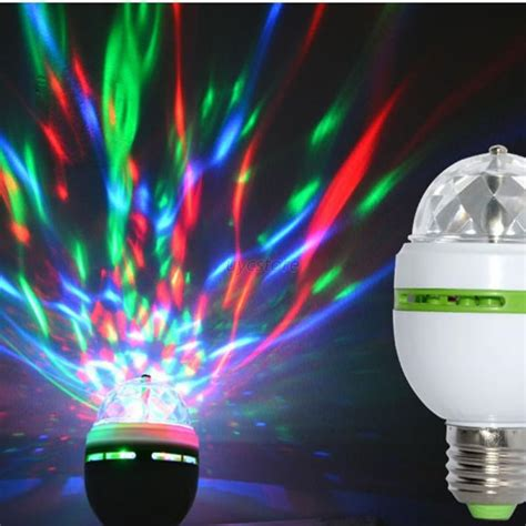 e27 3w rgb crystal ball rotating led stage light bulbs