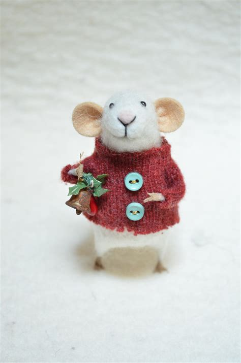 christmas mouse unique needle felted ornament by feltingdreams