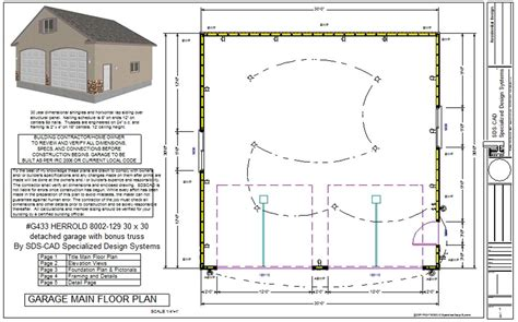 blueprints for garages g433 30 x 30 detached garage with bonus truss sds plans
