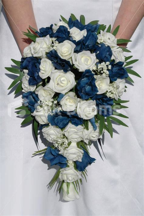 Wedding Bouquet Navy Blue by Mixed Ivory Navy Blue Lisianthus Bridal Wedding Bouquet