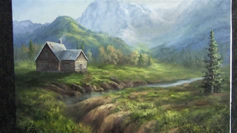 painting mountain cabin landscape
