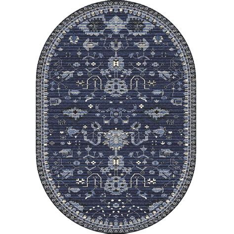 Karpet Oval carpet oasis navy 6 ft 7 in x 9 ft 6 in oval area rug 841864101805 the home depot
