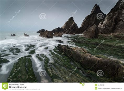 rugged rock landscape seascape of jagged and rugged rocks on coastline with stock photos image 35470703