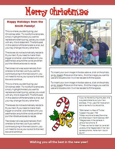 Ms Word Christmas Newsletter Template Candy Cane Design At Christmas Letter Tips Com Letter Ideas Templates