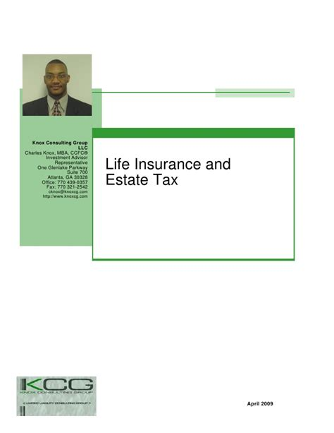 Mba In Insurance And Financial Planning by Insurance And Estate Tax Presentation