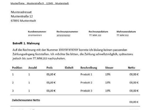 Muster Rechnung Anmahnen 1 Mahnung F 252 R Freiberufler Vorlage Muster