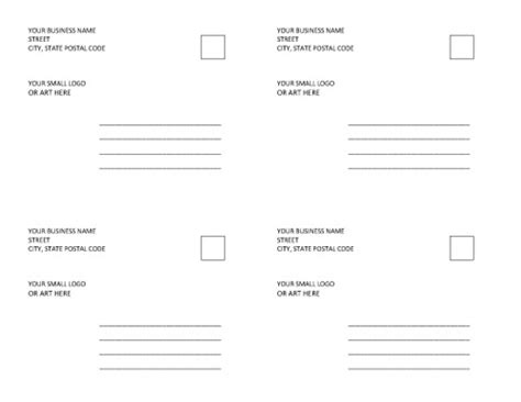 4 to a page postcard template 4 postcards per page template postcard template 4 per page