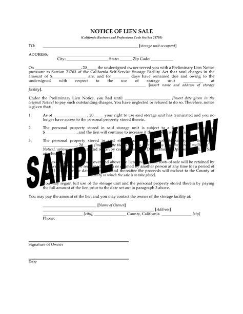 california notice of lien sale forms forms and - Len Sale