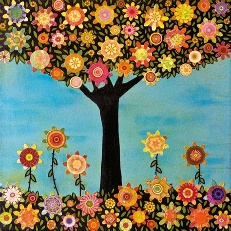 folk art tree painting art block print mixed media collage