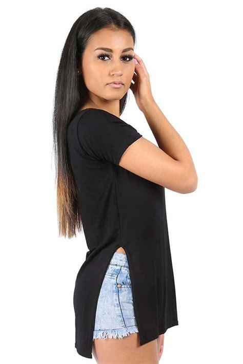 Slit Side Sleeve Shirt womens sleeve plain side split slit high low