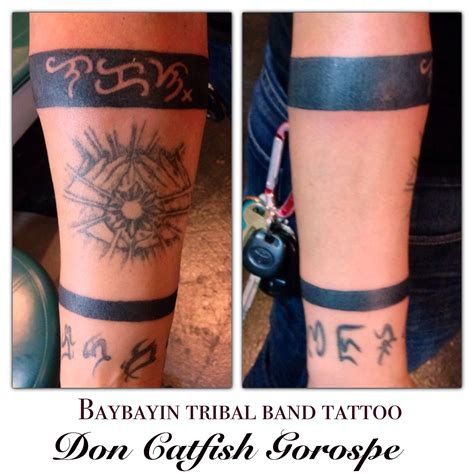tribal catfish tattoos malakas quot strong quot baybayin alibata tribal band forearm