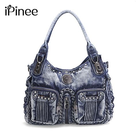Womens Large Capacity Shoulder Bag ipinee 2017 fashion bag denim handbag large capacity blue shoulder bag weave