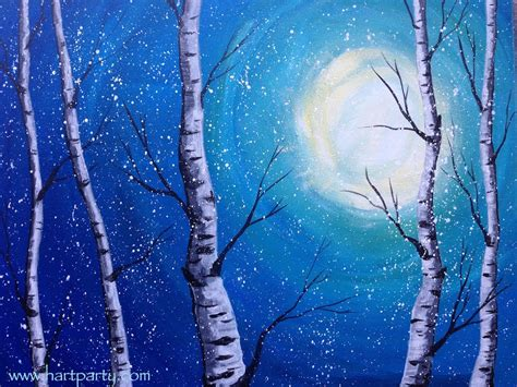 acrylic painting lessons for beginners beginner acrylic painting class winter birch trees