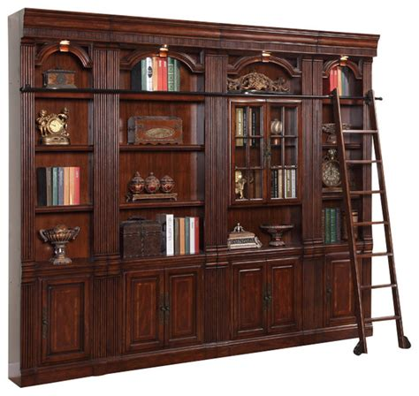 4 Piece Wellington Library Bookcase Insert Wall Unit Traditional Bookshelves