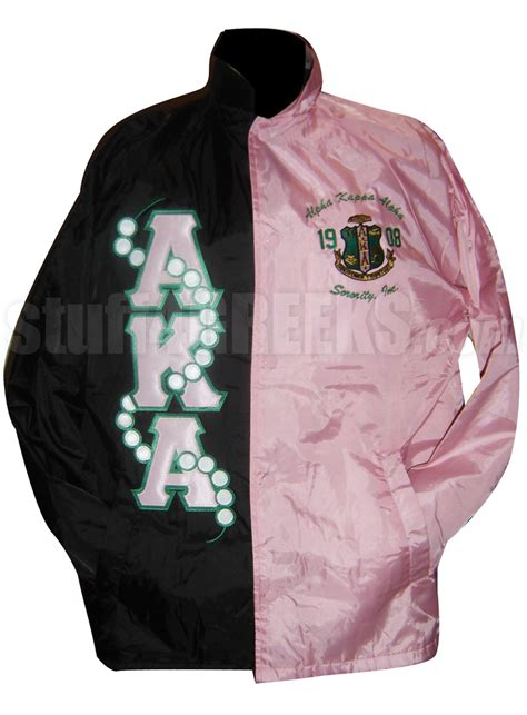 design fraternity jacket black and pink two tone alpha kappa alpha line jacket with