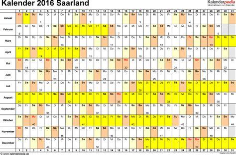 Kalender 2016 Querformat Kalender 2016 Saarland Ferien Feiertage Excel Vorlagen