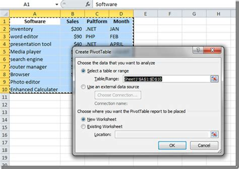 how to create a report as a table in excel excel 2010 create pivot table chart