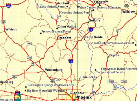 map of arizona prescott map of prescott arizona map travel