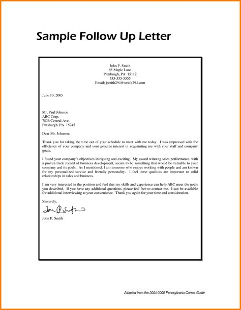 up letter follow up letter sle template resume builder
