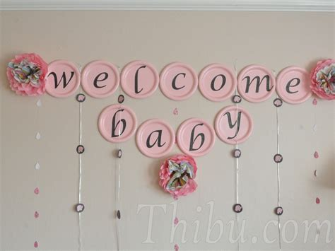 welcome home baby girl party ideas 2 wall decal pink and chocolate elephant themed baby shower decor