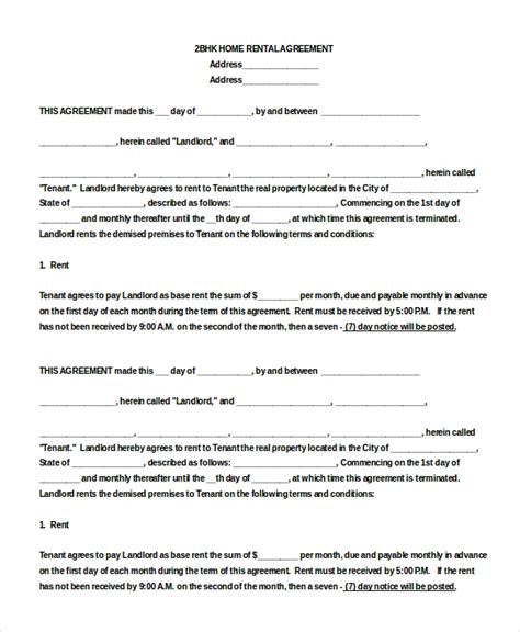 blank rental agreement 9 free word pdf documents