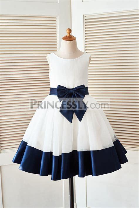 Dress Navy Flower With Belt ivory satin tulle flower dress with navy blue belt bow hem avivaly
