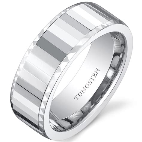faceted mens white tungsten wedding band ring available in
