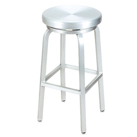 brushed aluminum navy backless swivel bar stool at g and a commercial seating 891 g a outdoor swivel bar