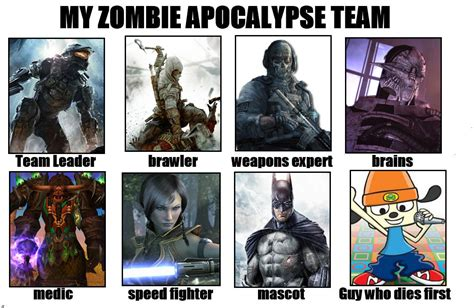 Zombie Team Meme - my all star video game zombie apocalypse team my