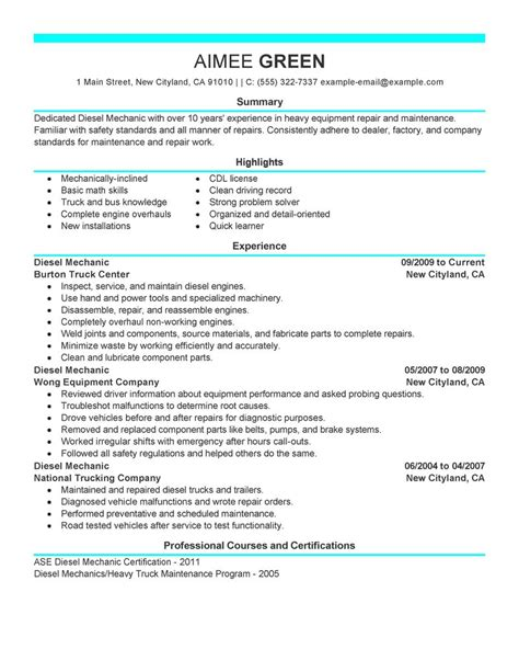 Sample Resume Maintenance by Best Diesel Mechanic Resume Example Livecareer