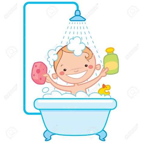 Bathroom clipart child bathing pencil and in color bathroom clipart child bathing