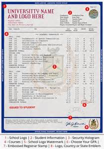 college transcript template college or transcripts phonydiploma