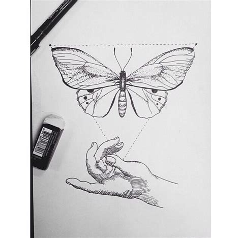 butterfly geometric hand tattoo elements pinterest