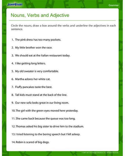 printable worksheets nouns verbs adjectives printables noun verb adjective adverb worksheet