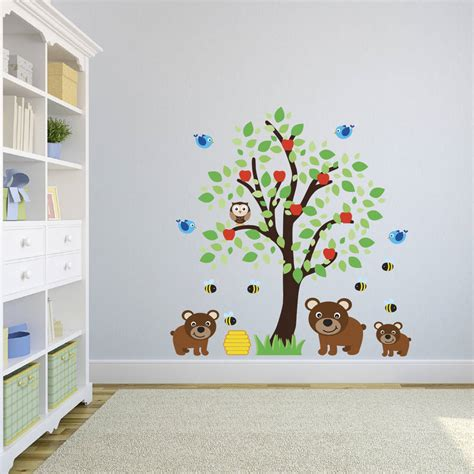 childrens tree wall stickers childrens tree with three bears wall sticker by mirrorin