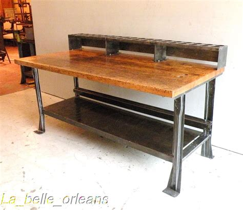 vintage work bench awsome vintage industrial steel and maple top island for