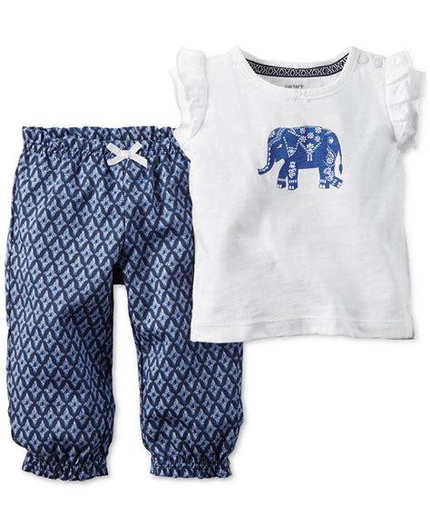 elephant pattern clothes carters newborn 3 6 9 12 18 24 months 2pc elephant set