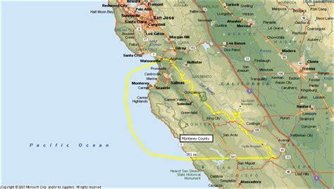 san jose monterey map monterey map travelsfinders