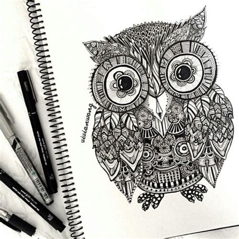 doodle draw owl beautiful owl drawing by wong doodling