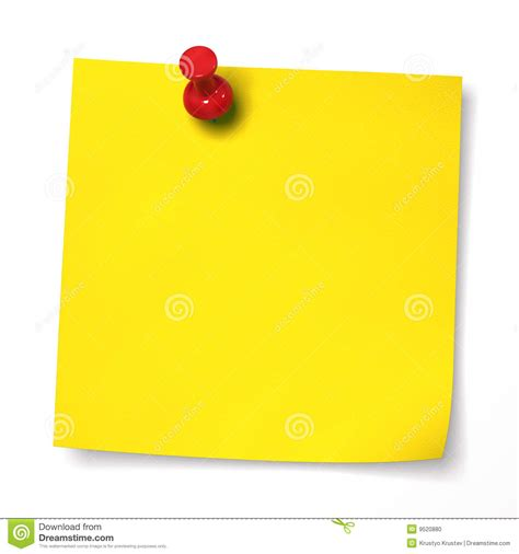 Yellow Note With Red Thumbtack Stock Illustration Illustration Of Isolated Dimensional 9520880 Thumbtack Template